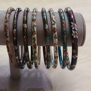 Vintage Chinese Cloisonne Bracelet Set